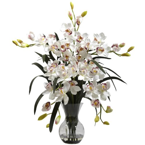 Nearly Natural Home Indoor Decorative Tabletop Large Cymbidium With Vase Arrangement White