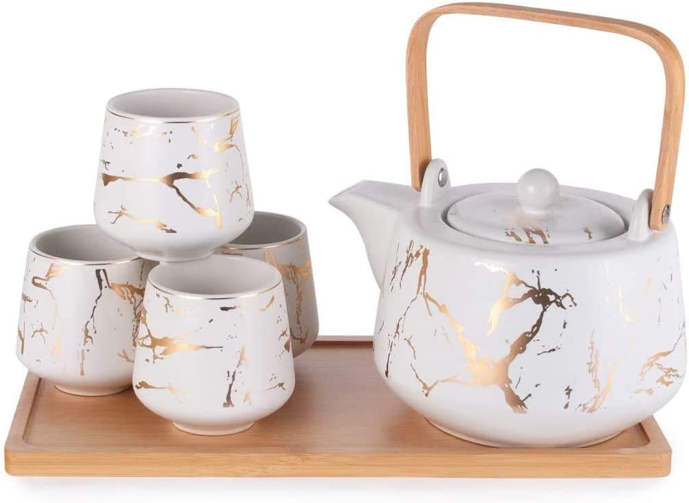 Happy Sales HSTS-MBLWHT, Modern Style Marble Design Porcelain Tea Set 37 fl oz Teapot with Handle and 4 Tea Cups On Wooden Tray, White