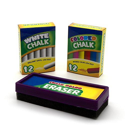 Emraw Eraser 12 White Chalk Dustless Chalk Non-Toxic 12 Color Chalkboard School Office and Sidewalk Outdoor Chalk Block Bundle for Art and Home Board Chalk with Eraser Pack of 25 by Emraw (Image #3)