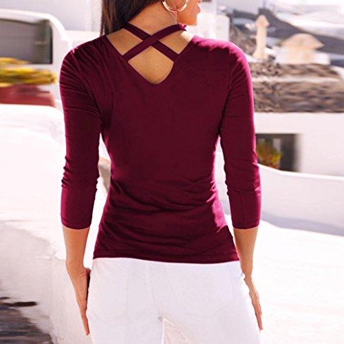 Nouveau Automne Cross Manches Mode Femmes Printemps Rouge Solide V Cou Casual 2018 zahuihuiM Dos T Blouse Shirt Nouveau Longues Tops Nu X nqfBIx4