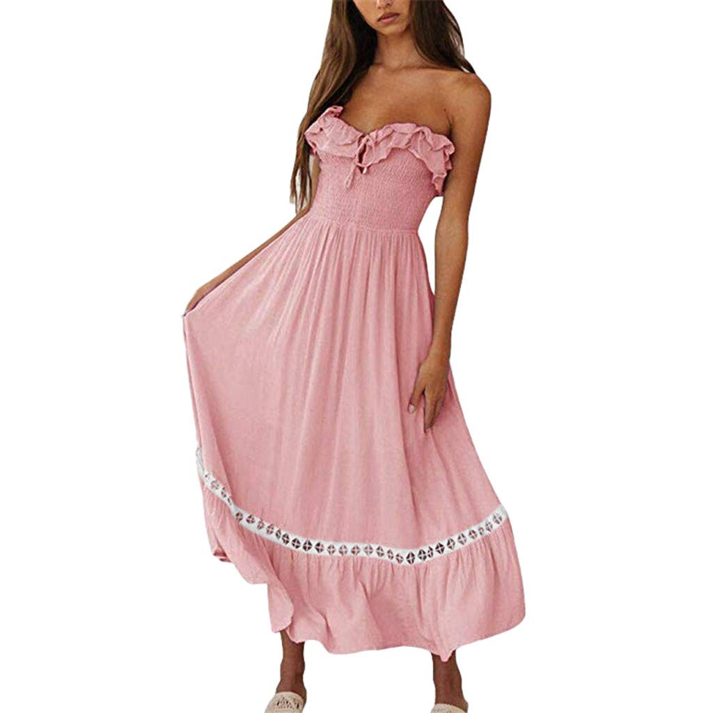 Mikilon Women's Summer Sleeveless Strapless Ruffle Off The Shoulder Swing Cocktail Party Dress Pink
