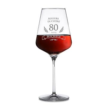 AMAVEL - Calice da Vino Rosso con Incisione per Il Compleanno - Auguri di  Cuore - 80 Anni - Personalizzato ... 1cde05f96fef