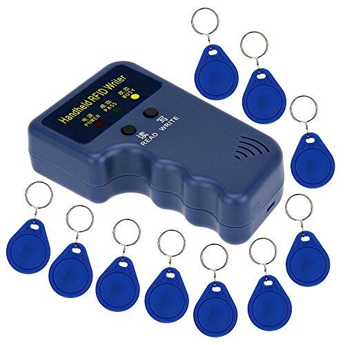 Great Deal! LIBO Handheld 125khz RFID Duplicator Key Copier Reader Writer ID Card Cloner Programmer + 10pcs Writable EM4305/T5577 Key Cards Keyfobs