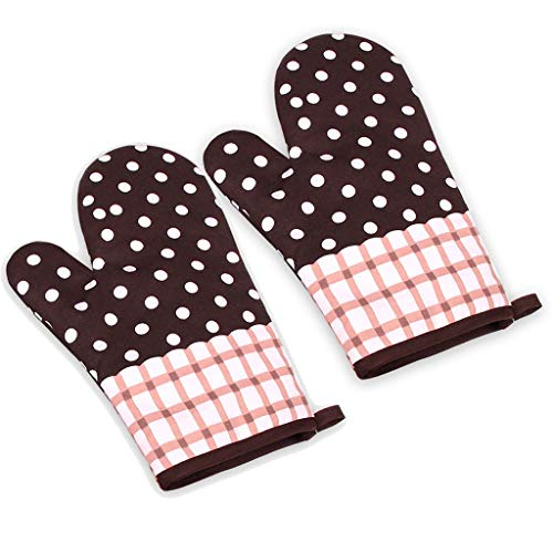 HOT 2019 Newest Oven Mitts Gloves Kitchen Cooking Cotton Microwave Oven Gloves Mitts Pot Pad Heat Proof Protected Heat Resistant Cook Gloves Mitts with Thick Terry LUORATA (Oven Mitts Gloves, Brown)
