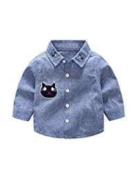 Dinlong Baby Boys Clothes Embroidery Cartoon Cat Striped Tops Gentlemen T Shirt