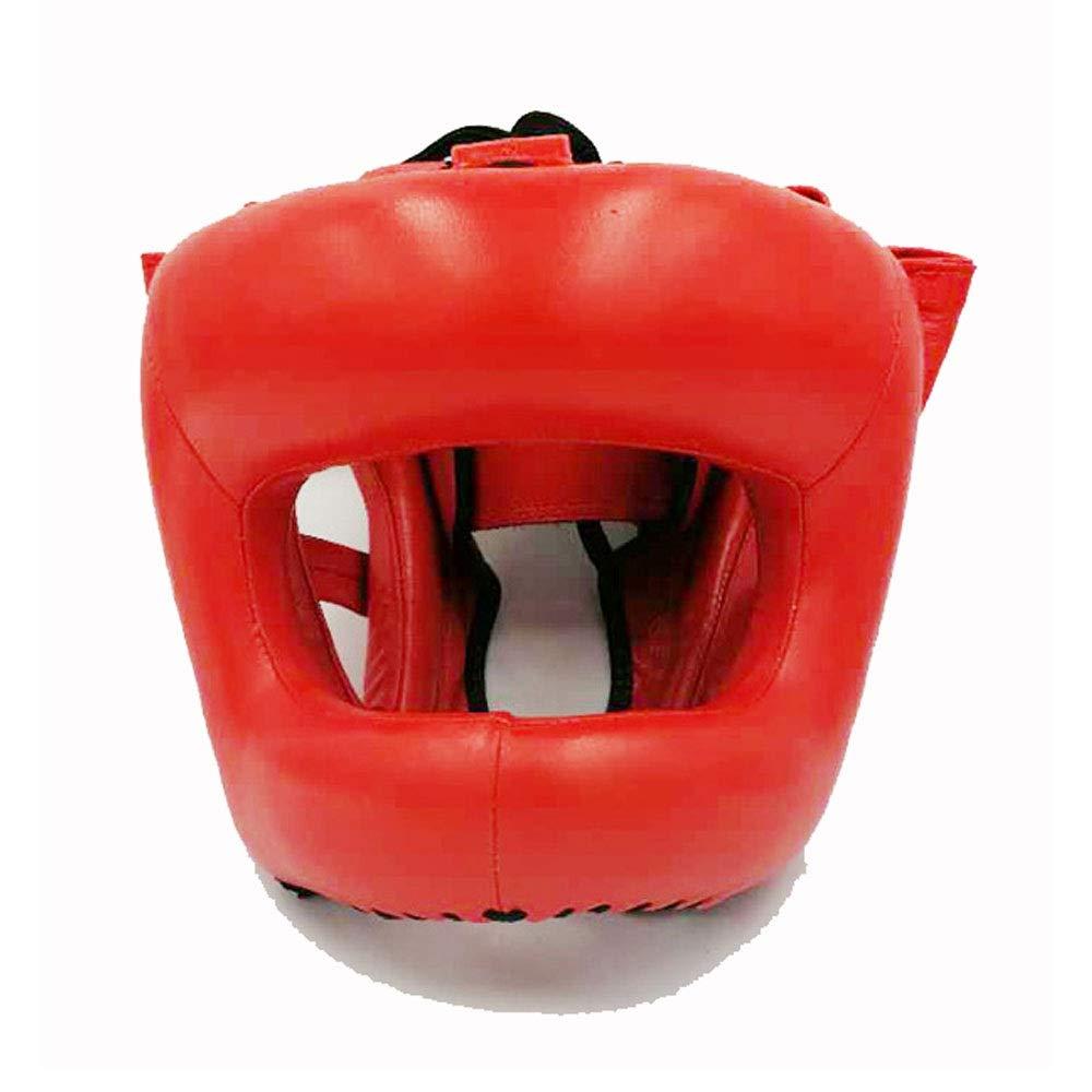 Pour HEADGUARD Boxe Head Guard Leather Boxing Headgear MMA Protector Couvre-chefs Combat Casque de combat pour Grappling Kickboxing MMA Muay Thai Couleur : Bleu , Taille : Taille unique