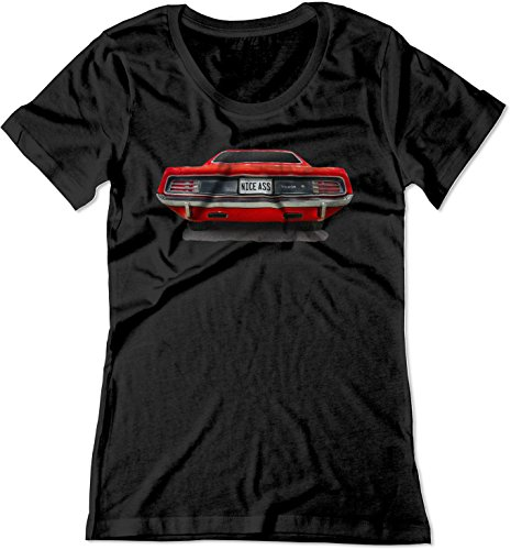 BSW Women's Nice Ass 1970 Plymouth Barracuda Muscle Car Shirt XL Black