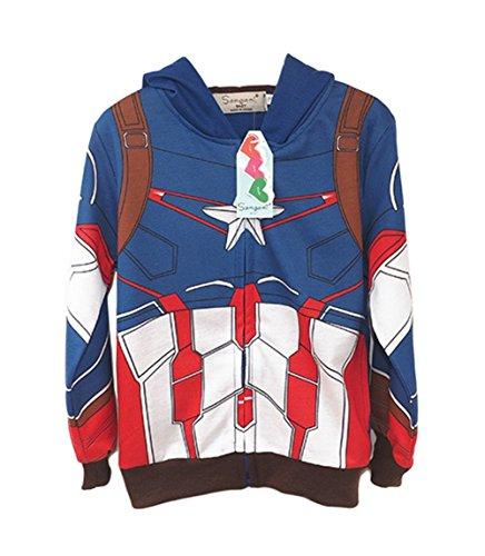 [StylesILove Super Heroes Costume Zipper Hoodie Jacket (18-24 months, Captain America)] (18 Month Superhero Costumes)