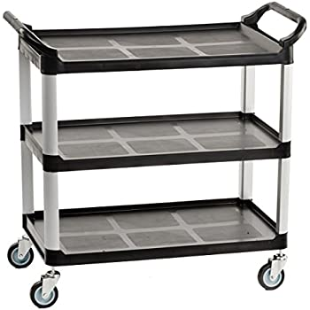 Heavy Duty Bus Cart With Open Shelving, Easy Grip Side Handles And Swivel  Wheels