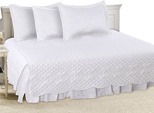 5 Pieces Daybed Set (White) 100% Brushed Microfiber – With 1 Bed Skirt, 2 Quilted Pillow Shams, 1 Pillow Case and 1 Quilted Bedpread By Utopia Bedding