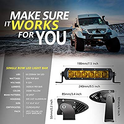 Led Light Bar, Chelhead Super Slim 2 PCS 7 Inch 30W Spot Yellow Driving Fog Single Row Light Bar 3600LM Off Road Led Lights with 2 Types of Mounting Brackets for Jeep Truck SUV UTV: Automotive