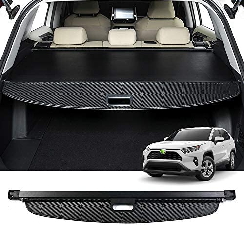 Powerty Cargo Cover for Toyota RAV4 2019 2020 2021 Retractable Rear Trunk Security Cover Shielding Shade Black Carbon Fiber Texture