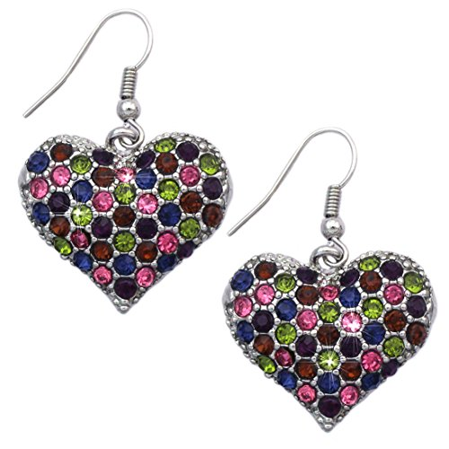 Crystal Pave Heart Earrings Valentine's Day Gift (1