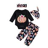 Clearance Sale! Baby Clothes Halloween, Iuhan 4Pcs Infant Baby Girls Boys Pumpkin Romper +Floral Pants + Cap + Headband Halloween Outfits Set (18Months, Black)