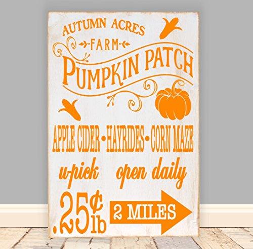 Pumpkin Patch Vinyl Rustic Wood Sign 12