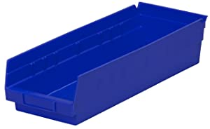 Akro-Mils 30138 18-Inch by 6-Inch by 4-Inch Plastic Nesting Shelf Bin Box, Blue, Case of 12