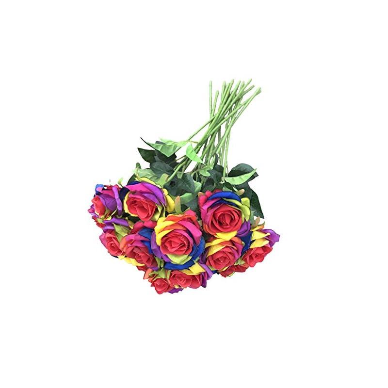 silk flower arrangements dalamoda wholesale 15pcs artificial silk rose flower rainbow roses flowers-diy bridal bouquet flower or diy any home garden decoration pack of 15pcs(rainbow rose)