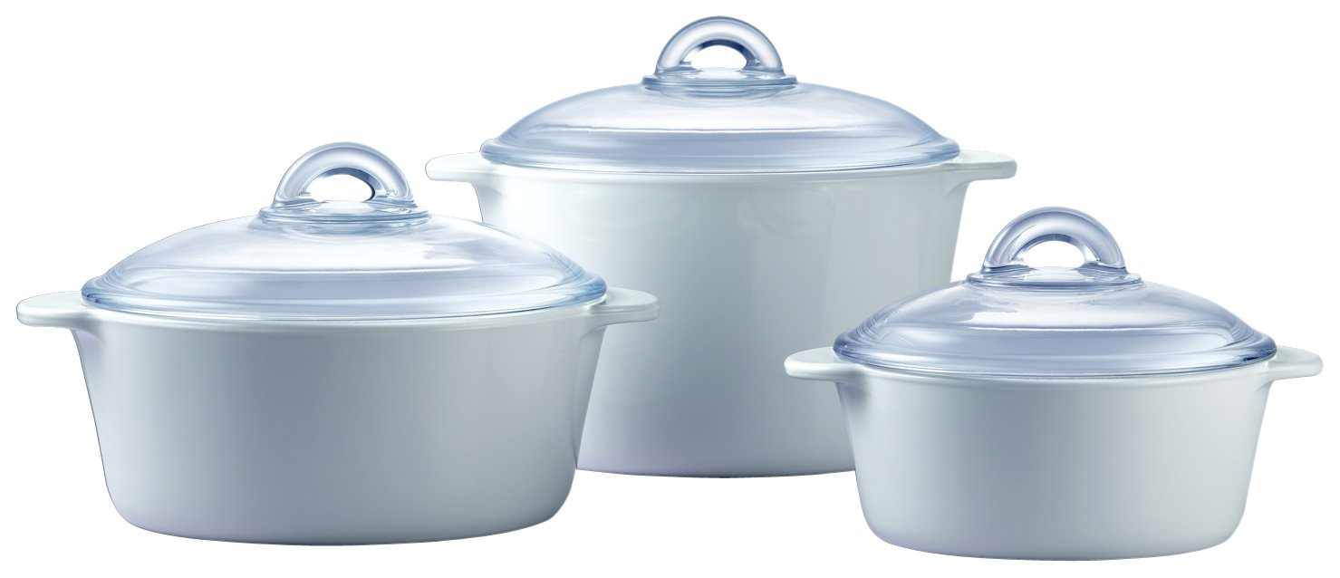 Pyroflam Round Casseroles with Lids, Set of 3 by Pyroflam