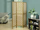 "Monarch 3-Panel Frame ""Lantern Design"" Folding Screen, Gold"