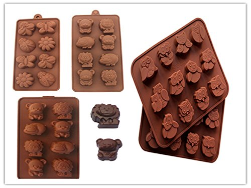 Cartoon Shaped Silicone Molds for Chocolate Candy-Cartoons, Characters, Insects and Animal Heads (Set of - Cartoons Character