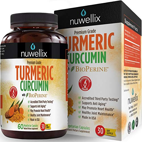 Nuwellix Turmeric Curcumin with Bioperine - Natural Anti Inflammatory Supplement Supports Pain Relief and Joint - Non-GMO Turmeric Capsules with Black Pepper - 60 Veggie Capsules (Best Vegetables For Joint Pain)