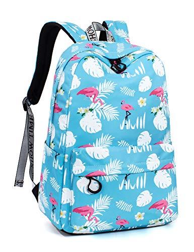 Leaper Chic Flamingos Backpack Girls Laptop Backpack School Bag Bookbag Blue 2