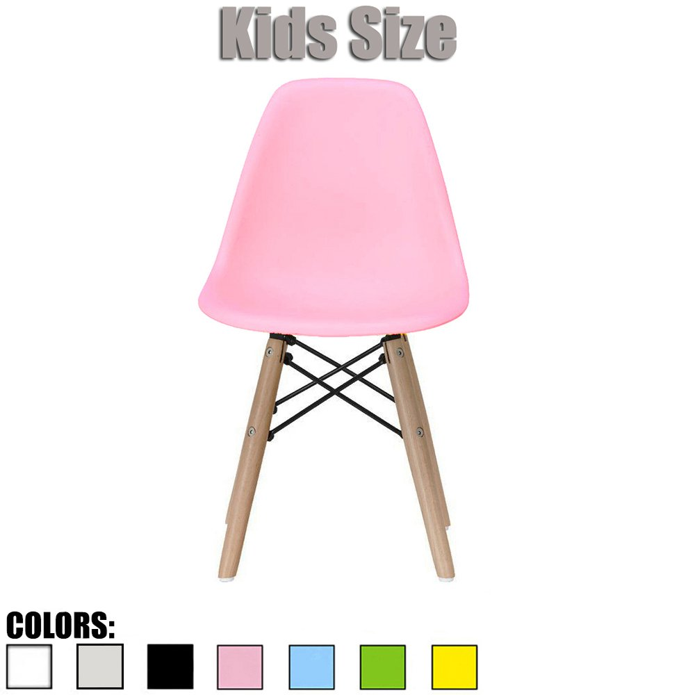 2xhome - Pink - Kids Size Eames Side Chair Eames Chair Pink Seat Natural Wood Wooden Legs Eiffel Childrens Room Chairs No Arm Arms Armless Molded Plastic Seat Dowel Leg