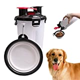 YiGooood Portable Pet Travel Outdoor Water Cup 2 in 1 Dog Drinking Water Bottle with Bowl, Food Container for 250g Snack and 350ml Water