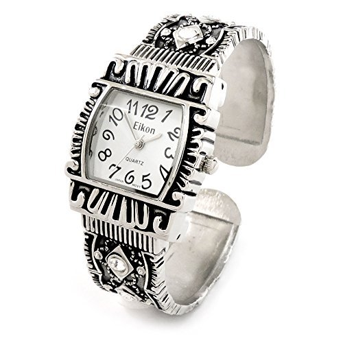 Silver Black Western Style Decorated Crystal Band Women's Bangle Cuff (Western Style Bangle Watch)