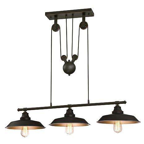 MASOSER Industrial Vintage arañas polea 3 luz Colgante ...