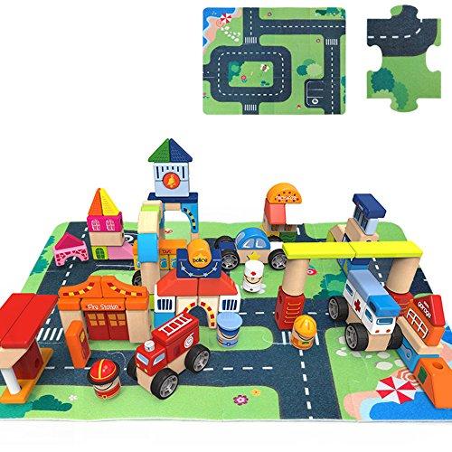 [Wood City Traffic Building Blocks - iPlay, iLearn Wooden City Building Construction Building Blocks] (Black Sheep Costume Toddler)