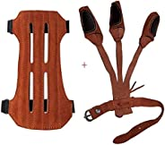 TOPARCHERY Leather 2 Straps Arm Guard & 3 Finger Protective Gloves for Recurve Compound Long Bow Hunting S