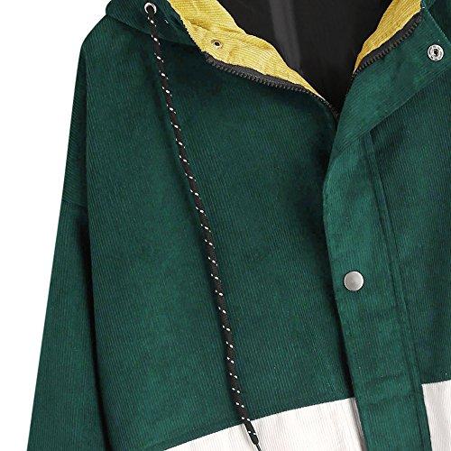 Sciolti Patchwork Giacca A Bottoni Con Donna Capispalla Cappotto Outwear Zaful Verde Intenso Top Zip nIXUSvw