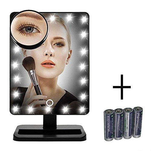 (FLYMEI [Upgraded Version] 20 LED Lighted Makeup Mirror, Vanity Mirror with Touch Screen, Detachable 10X Magnification Spot Mirror, Countertop Cosmetic Mirror, Include AA Batteries, Black)