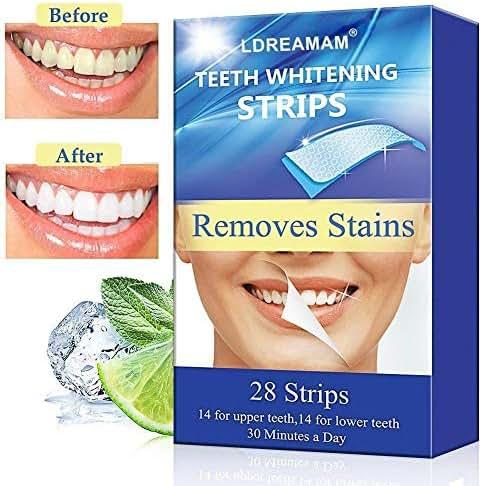 Teeth Whitening Strips,Teeth Bleaching,Teeth Whitening Kit,Teeth Whitening Strips Advanced Double Elastic Gel Strips Kit 20 Pcs