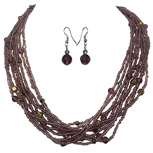 (Light Purple Lavender Multi Row Layered Glass Seed Bead Necklace and Dangle Earrings Set)