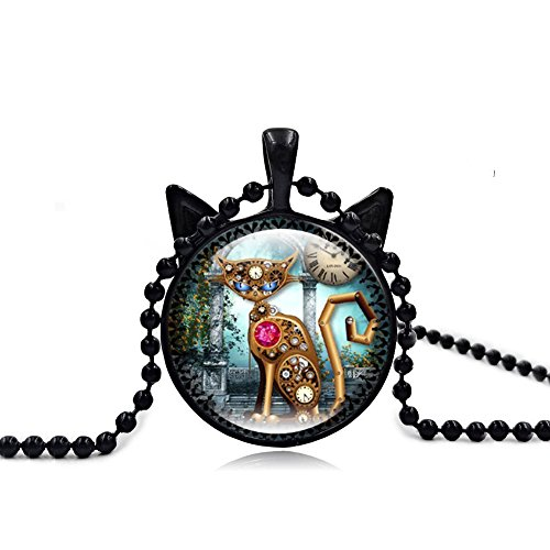 I's Vintage Steampunk Style Lucky Cat Kitty Glass Pendant Necklace For Women Holiday Gifts (Clock Cat)
