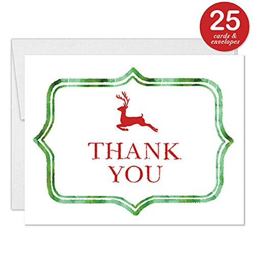 (Cute Reindeer Thank You Cards Christmas Season 25 Pack Red Green Notecards with Envelopes Engagement Wedding Anniversary Party Holiday Celebration Thanks Festive Blank Folded Notes Digibuddha VT0067B)