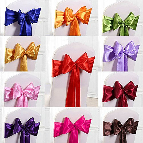Taffeta Sash Colors Light (ADASMILE 7x108 inch Silk Satin Ribbon Chair Sashes Bows Cover for Wedding Party Decoration (7