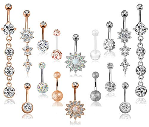 - FIBO STEEL16 Pcs 14G Stainless Steel Dangle Belly Button Rings Navel Barbell Body Jewelry Piercing (C:16 Psc)