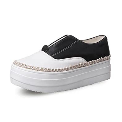 c7e534239d48 Summerwhisper Women s Casual Contrast Color Elastic Platform Flats Loafers Shoes  Low Top Sneakers Black 4 B