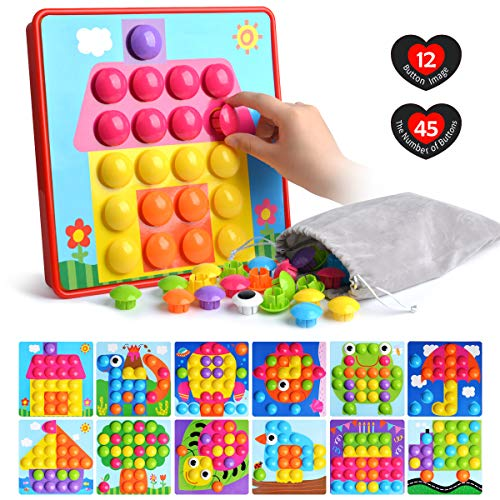 Button Art Toys for Toddlers Color Matching Mosaic Pegboard Early Learning Educational Puzzle Peg Board Games Best Gift for Preschool - Art Old Toys For One Year
