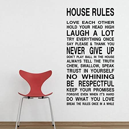 23 W 45 H House Rules Sign Wall Sticker And Saying Love Each Other