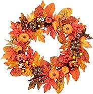 HBlife Fall Door Wreath Autumn Maple Leaf Pumpkin Pinecone Harvest Wreath for Front Door Thanksgiving Hallowee