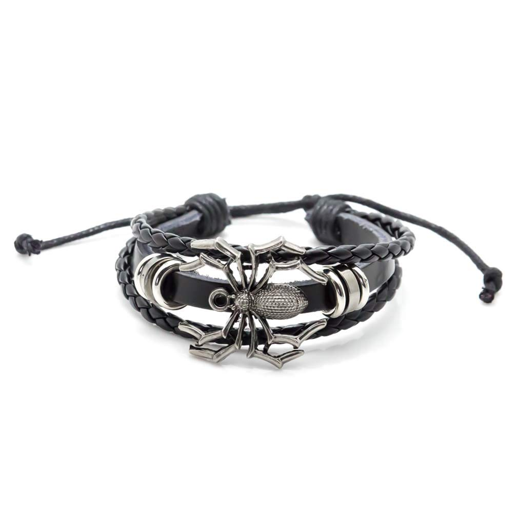 Xusamss Hip Hop Alloy Spider Bead Drawstring Rope Leather Cuff Bracelet,7-8inches JHKsz231-Black