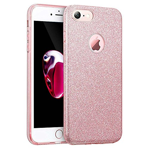 Iphone 7 Case, Iphone 8 case,Eraglow Iphone 7 8 Back Cover Shinning Protective Bumper Sparkle Bling Glitter Case for 4.7 Inches Iphone 7/8 (Rose Gold)