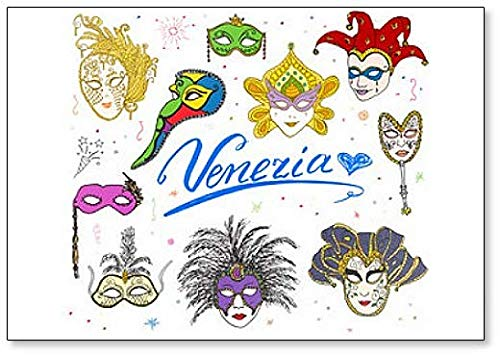 Venice Italy Sketch Carnival Venetian Masks Doodles Illustration - Classic Fridge Magnet ()