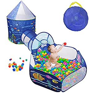 Sunba Youth Kids Play Tent, Crawl Tunnel and Ball Pit, Pop Up Playhouse for Girls and Boys, Babies and Toddlers. Knight Castle for Kids for Indoor and Outdoor Use with Carrying Case. (3pc Set)