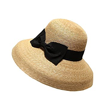 Meaeo Women Sun Hat With A Wide Brim Ladies Elegant Natural Straw Hats Uv  Protection Beach caf7b3fc5ee