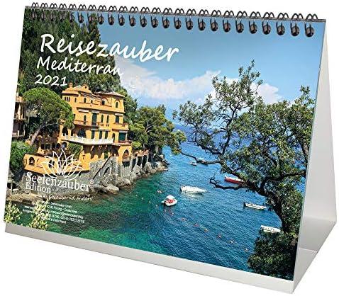 Reisezauber Mediterran DIN A5 Tischkalender für 2021 Mittelmeer Stadt und Land - Geschenkset Inhalt: 1x Kalender, 1x Weihnachts- und 1x Grußkarte (insgesamt 3 Teile)